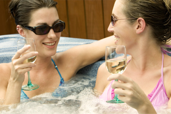 drinking alcohol in the the hot tub